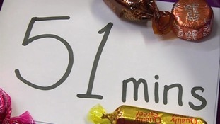 The average survival rate was 51 minutes per chocolate.