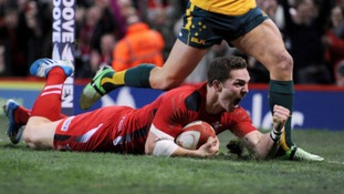 George North celebrates scoring against Australia.