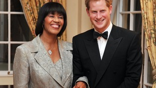 Prince Harry and the Jamaican Prime Minister Portia Simpson Miller, before the State Dinner in the King's House, in Kingston, Jamaica.