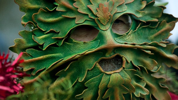 Ian Temple arch druid of the Dorset grove dressed as the green man during the Winter Solstice service at Stonehenge.