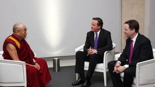 Dalai Lama meeting Prime Minister David Cameron and Deputy Prime Minister Nick Clegg