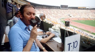BBC commentator David Coleman in the Lenin Stadium, Moscow in 1980.