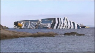 The Costa Concordia after it ran aground in Italy