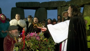 Archdruid of Stonehenge Rollo Maughfling (left) leads the Winter Solstice service at Stonehenge