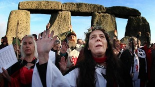 Worshippers celebrate the sunrise at last year's winter solstice