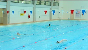 Children swimming at a pool in Mansfield