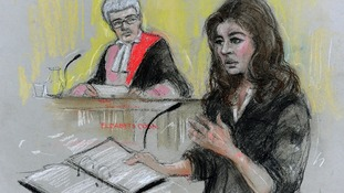 Court artist sketch of TV cook Nigella Lawson giving evidence.