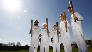 Olympic torch bearers for the London 2012 Olympic Games, (L-R) Abul Kasam, Dinah Gould, Dominic John MacGowan, Rosy Ryan and Aidan Kirkwood