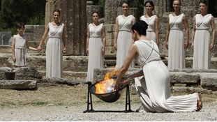 Olympic torch lighting ceremony in Athens