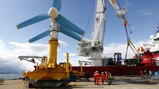 AK-1000 tidal energy turbine before it is shipped to the European Marine Energy Centre test site in the Orkney Islands
