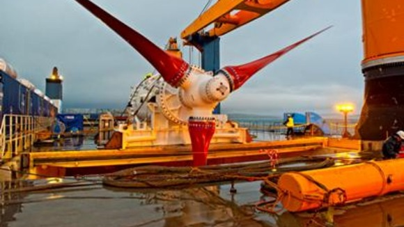 Tidal turbine installation at Orkney