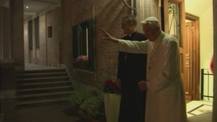 Benedict bids farewell to Pope Francis after the rare visit.