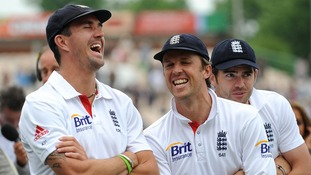 Graeme Swann and Kevin Pietersen share a joke.