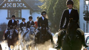 Riders and horses at the Cheshire Hunt, which leaves from The Swan in Tarporley.