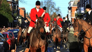 Riders and horses at the Cheshire Hunt, founded in 1762.