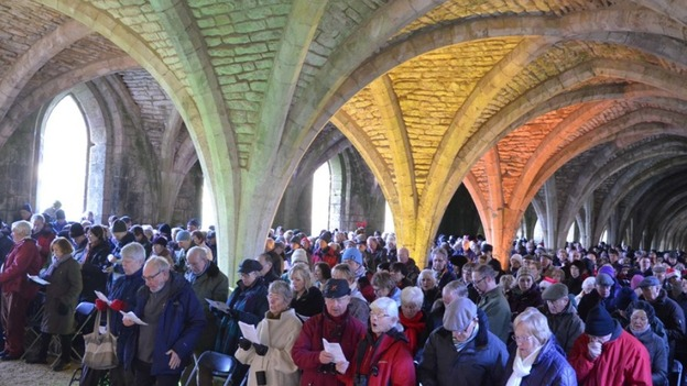 Service in Fountains Abbey