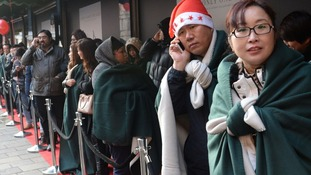 Harrods offered queueing customers blankets and hot chocolates to keep warm.