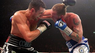 Carl Froch (left) and George Groves during the WBA and IBF Super Middleweight Title fight