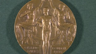 The Gold medal issued to winning competitors during the 1908 Olympic Games in London