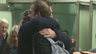 Freelance journalist and film maker Kieron Bryan returns home from his jail ordeal