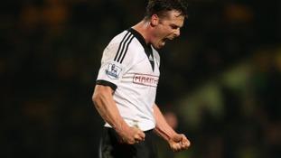 Fulham's Scott Parker celebrates victory at Carrow Road.