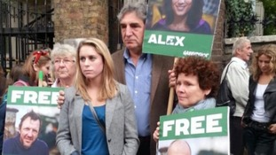 Actors Jim Carter and Imelda Staunton join Alexandra Harris's sister Georgie to show their support for activists charged in Russia