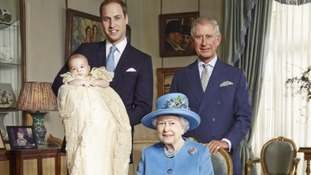 Prince George of Cambridge pictured with his father Prince William, his grandfather Prince Charles and his great-grandmother the Queen.