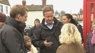 David Cameron talks to Erica Olivares about the flooding in Yalding, Kent - one of the worst affected areas