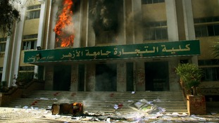 Fire burns inside the Faculty of Commerce building al-Azhar University in Cairo.