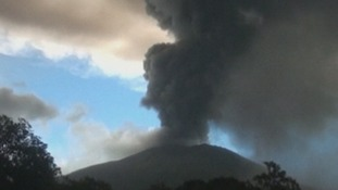The Chaparrastique volcano, located near the city of San Miguel, erupted yesterday.