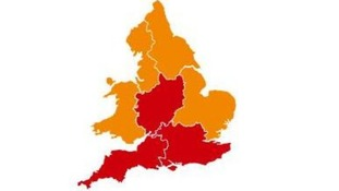 Red areas show where flood warnings are in place, yellow shows flood alerts.