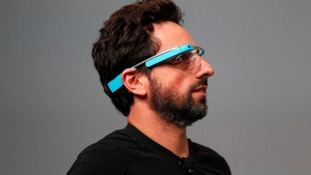 Sergey Brin, CEO and co-founder of Google, wears a Google Glass during a product demonstration