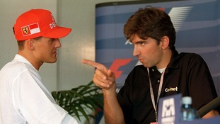 Old rivals Damon Hill and Michael Schumacher confront each other at the Silverstone circuit in 1997