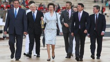 President of the Hellenic Olympic Committee Spyros Capralos, Boris Johnson, The Princess Royal, David Beckham, Lord Coe and Hugh Robertson.