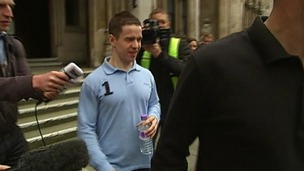 Sam Hallam leaving court earlier today