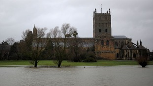 Flooding outside Tewkesbury Abbey in Gloucestershire