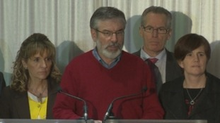 Sinn Fein leader Gerry Adams speaking this morning.