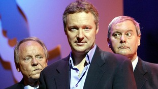 John Fortune (R) with fellow comedians Rory Bremner (C) and John Bird