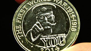 A new £2 coin featuring Lord Kitchener pictured at the Royal Mint in Pontyclun, Wales.