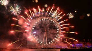 The London Eye becomes a Catherine Wheel for New Year.