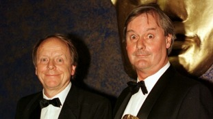 John Fortune (R) and John Bird with their BAFTA awards for Best Light Entertainment Performance in 1997