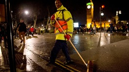 The capital cleans-up after New Year's Eve celebrations