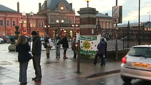 Campaigners at Norwich Station this morning.