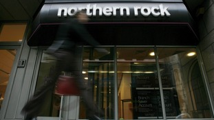 A sign is seen above a Northern Rock bank branch
