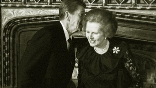 US President Ronald Reagan talking to Prime Minister Margaret