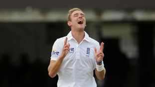 A joyful Stuart Broad after taking his sixth wicket yesterday - he took his seventh today.