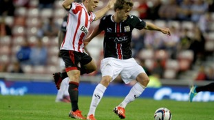 Patrick Bamford shields the ball away from Sunderland's David Vaughan.