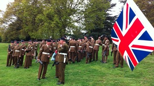 Soldiers receiving the Freedom of Warwick at Warwick castle today