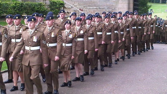 Soldiers march at the Freedom of Warwick at Warwick Castle in Kenilworth today