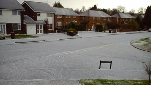 A covering of hail in Dunstable, Bedfordshire on Friday 3 January 2014